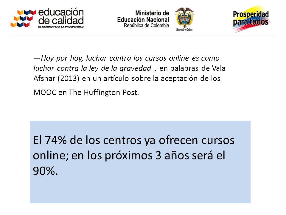 El 74% de los centros ya ofrecen cursos online; en los próximos 3 años será el 90%. Hoy por hoy, luchar contra los cursos online es como luchar contra