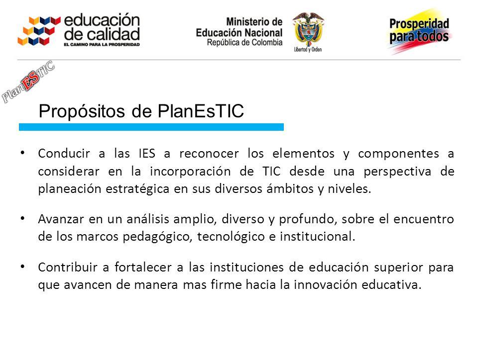 Propósitos de PlanEsTIC Conducir a las IES a reconocer los elementos y componentes a considerar en la incorporación de TIC desde una perspectiva de planeación estratégica en sus diversos ámbitos y niveles.