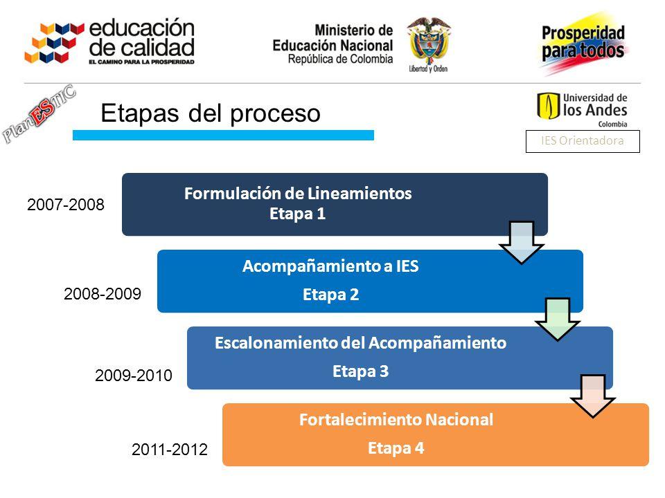 Formulación de Lineamientos Etapa 1 Acompañamiento a IES Etapa 2 Escalonamiento del Acompañamiento Etapa 3 Fortalecimiento Nacional Etapa 4 2007-2008 2008-2009 2009-2010 2011-2012 Etapas del proceso IES Orientadora