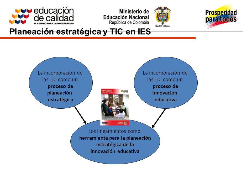 Planeación estratégica y TIC en IES La incorporación de las TIC como un proceso de planeación estratégica La incorporación de las TIC como un proceso de Innovación educativa Los lineamientos como herramienta para la planeación estratégica de la innovación educativa