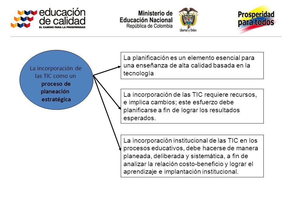 La incorporación de las TIC como un proceso de planeación estratégica La planificación es un elemento esencial para una enseñanza de alta calidad basa