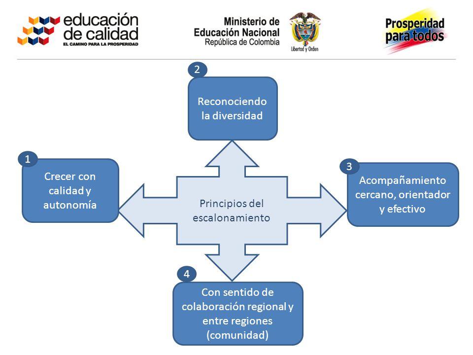 Principios del escalonamiento Acompañamiento cercano, orientador y efectivo Crecer con calidad y autonomía Reconociendo la diversidad Con sentido de colaboración regional y entre regiones (comunidad) 1 2 3 4