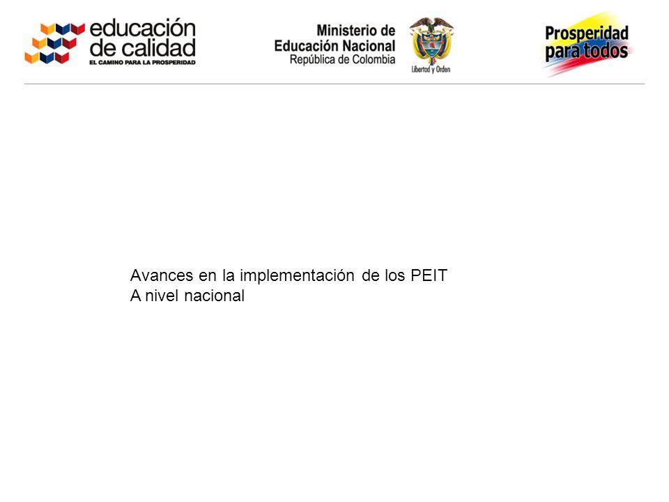 Avances en la implementación de los PEIT A nivel nacional