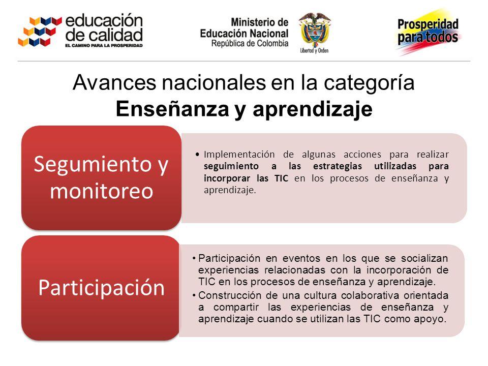 Avances nacionales en la categoría Enseñanza y aprendizaje Implementación de algunas acciones para realizar seguimiento a las estrategias utilizadas para incorporar las TIC en los procesos de enseñanza y aprendizaje.