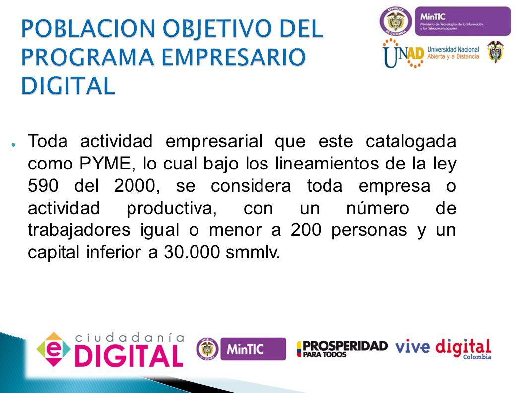 OBJETIVOS DEL PROGRAMA Reconocer y validar el uso de las tecnologías por parte de los empresarios, dentro de su operación común.