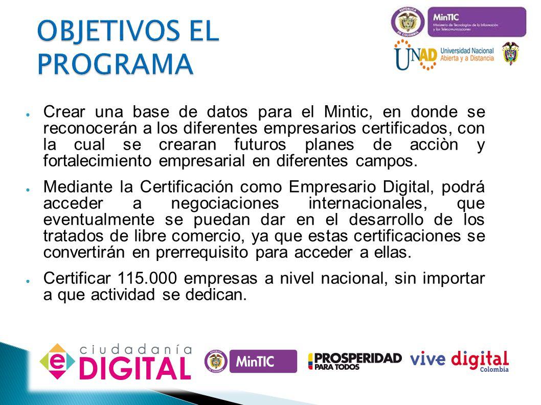 OBJETIVOS EL PROGRAMA Crear una base de datos para el Mintic, en donde se reconocerán a los diferentes empresarios certificados, con la cual se creara