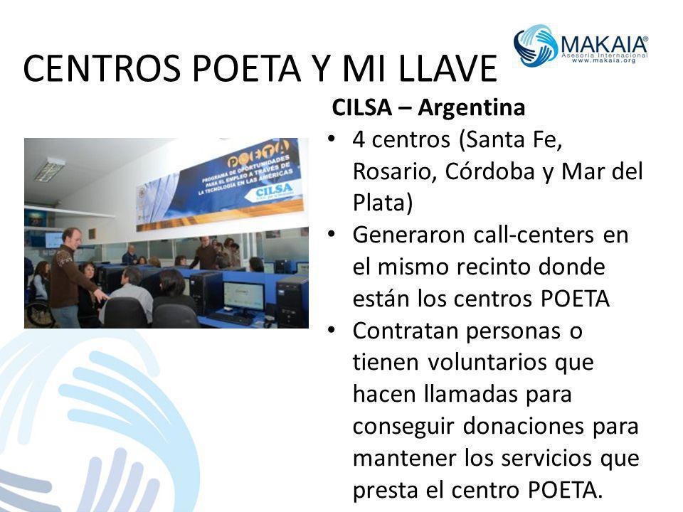 CENTROS POETA Y MI LLAVE CILSA – Argentina 4 centros (Santa Fe, Rosario, Córdoba y Mar del Plata) Generaron call-centers en el mismo recinto donde est
