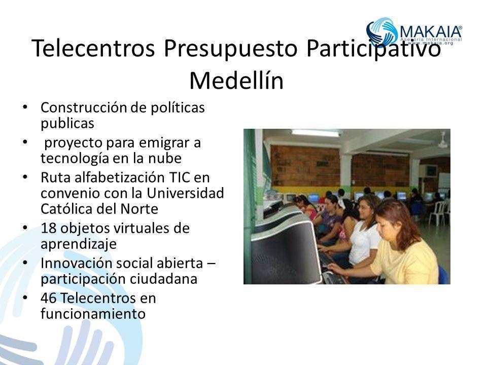 Telecentros Presupuesto Participativo Medellín Construcción de políticas publicas proyecto para emigrar a tecnología en la nube Ruta alfabetización TIC en convenio con la Universidad Católica del Norte 18 objetos virtuales de aprendizaje Innovación social abierta – participación ciudadana 46 Telecentros en funcionamiento