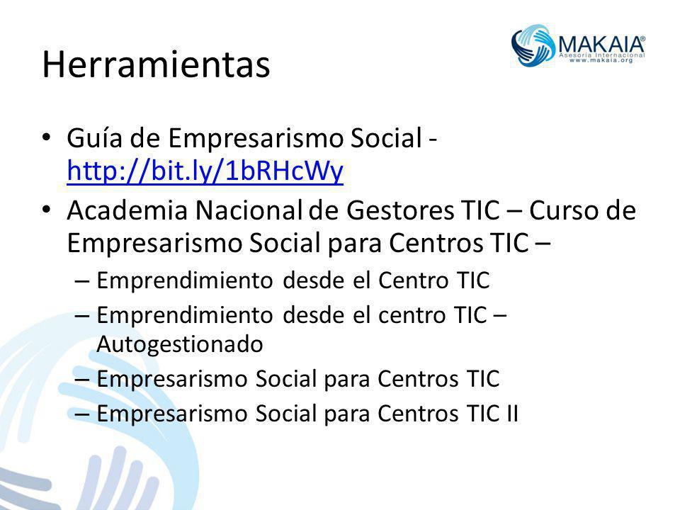 Herramientas Guía de Empresarismo Social - http://bit.ly/1bRHcWy http://bit.ly/1bRHcWy Academia Nacional de Gestores TIC – Curso de Empresarismo Social para Centros TIC – – Emprendimiento desde el Centro TIC – Emprendimiento desde el centro TIC – Autogestionado – Empresarismo Social para Centros TIC – Empresarismo Social para Centros TIC II