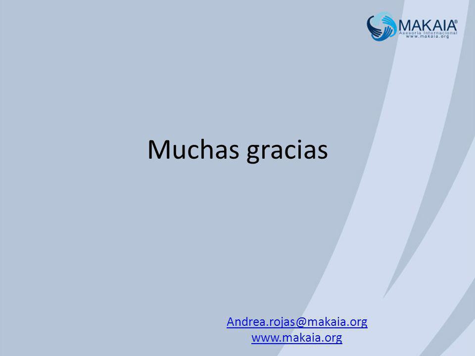 Muchas gracias Andrea.rojas@makaia.org www.makaia.org