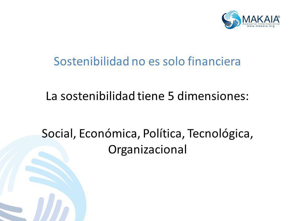 Sostenibilidad no es solo financiera La sostenibilidad tiene 5 dimensiones: Social, Económica, Política, Tecnológica, Organizacional