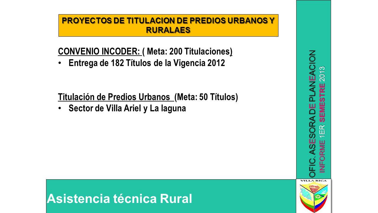 INFORME 1ER SEMESTRE 2013 OFIC. ASESORA DE PLANEACION Asistencia técnica Rural PROYECTOS DE TITULACION DE PREDIOS URBANOS Y RURALAES CONVENIO INCODER: