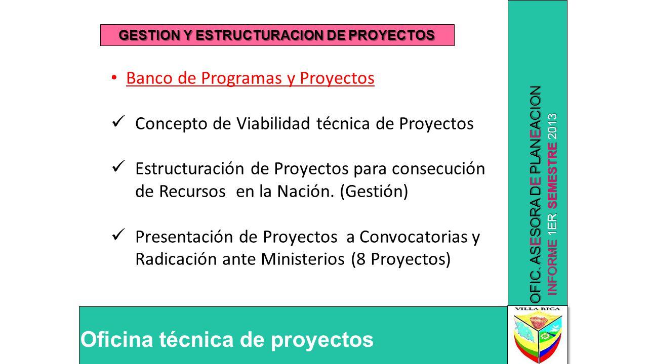 INFORME 1ER SEMESTRE 2013 OFIC. ASESORA DE PLANEACION Oficina técnica de proyectos GESTION Y ESTRUCTURACION DE PROYECTOS Banco de Programas y Proyecto