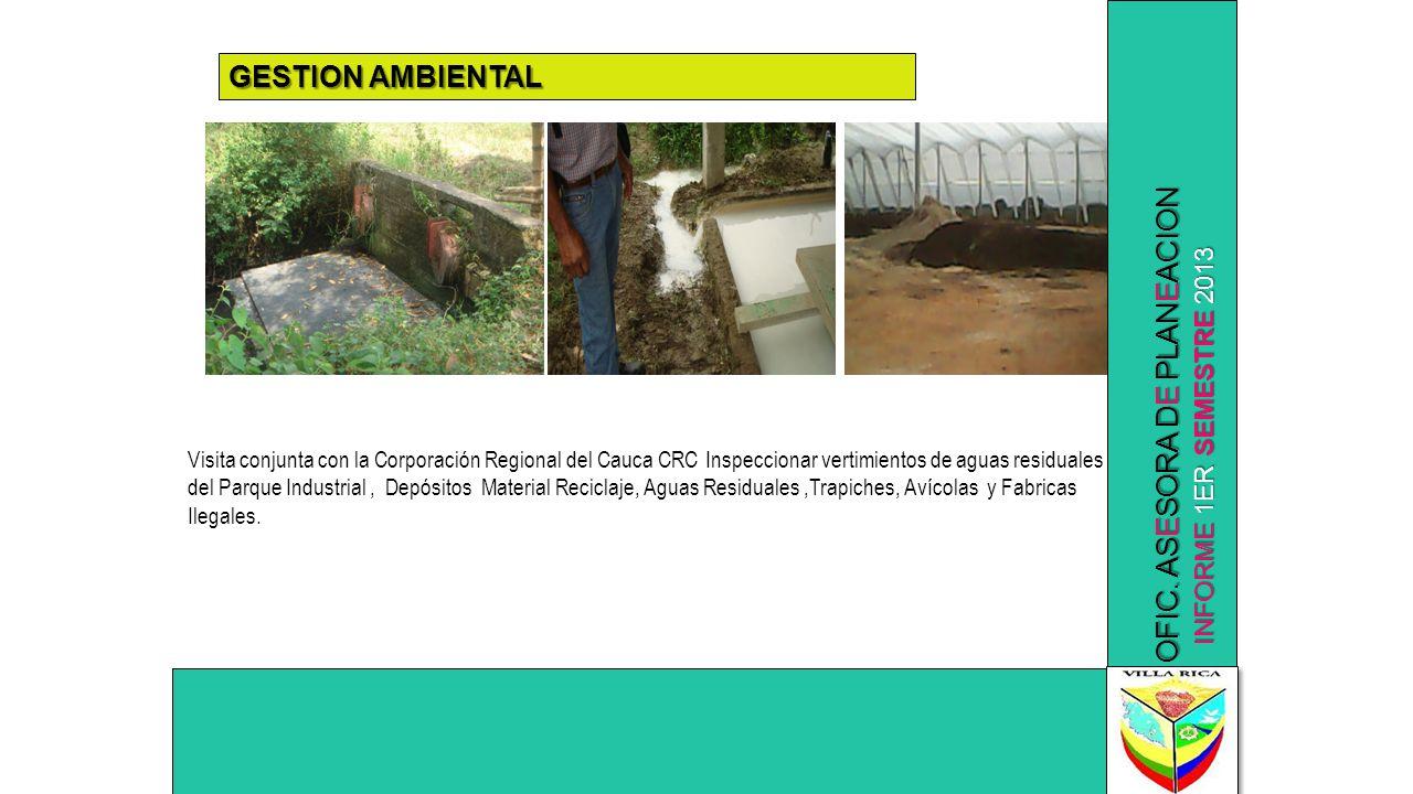INFORME 1ER SEMESTRE 2013 OFIC. ASESORA DE PLANEACION GESTION AMBIENTAL Visita conjunta con la Corporación Regional del Cauca CRC Inspeccionar vertimi