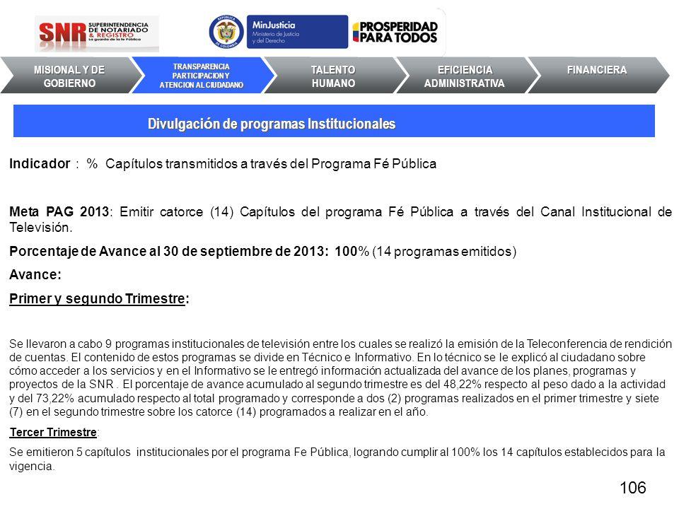 Indicador : % Capítulos transmitidos a través del Programa Fé Pública Meta PAG 2013: Emitir catorce (14) Capítulos del programa Fé Pública a través de