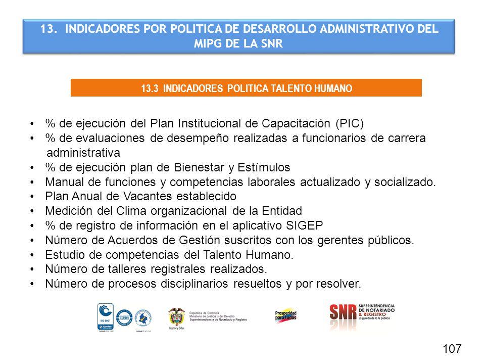 107 13.3 INDICADORES POLITICA TALENTO HUMANO 13. INDICADORES POR POLITICA DE DESARROLLO ADMINISTRATIVO DEL MIPG DE LA SNR % de ejecución del Plan Inst