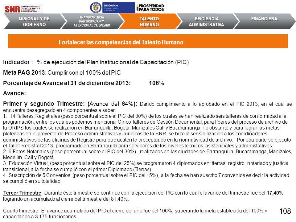 Indicador : % de ejecución del Plan Institucional de Capacitación (PIC) Meta PAG 2013: Cumplir con el 100% del PIC Porcentaje de Avance al 31 de dicie