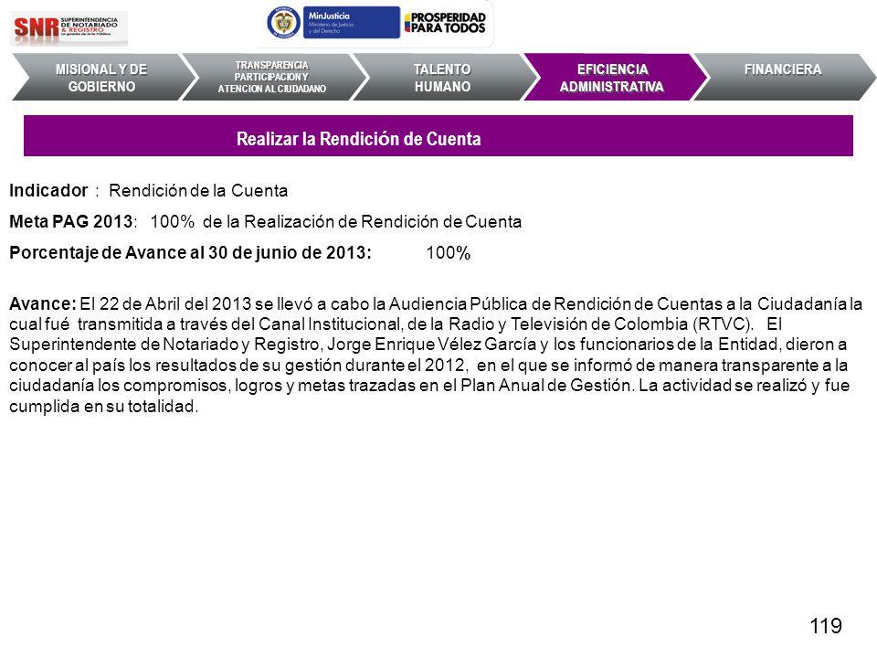 Indicador : Rendición de la Cuenta Meta PAG 2013: 100% de la Realización de Rendición de Cuenta Porcentaje de Avance al 30 de junio de 2013: 100% Avan