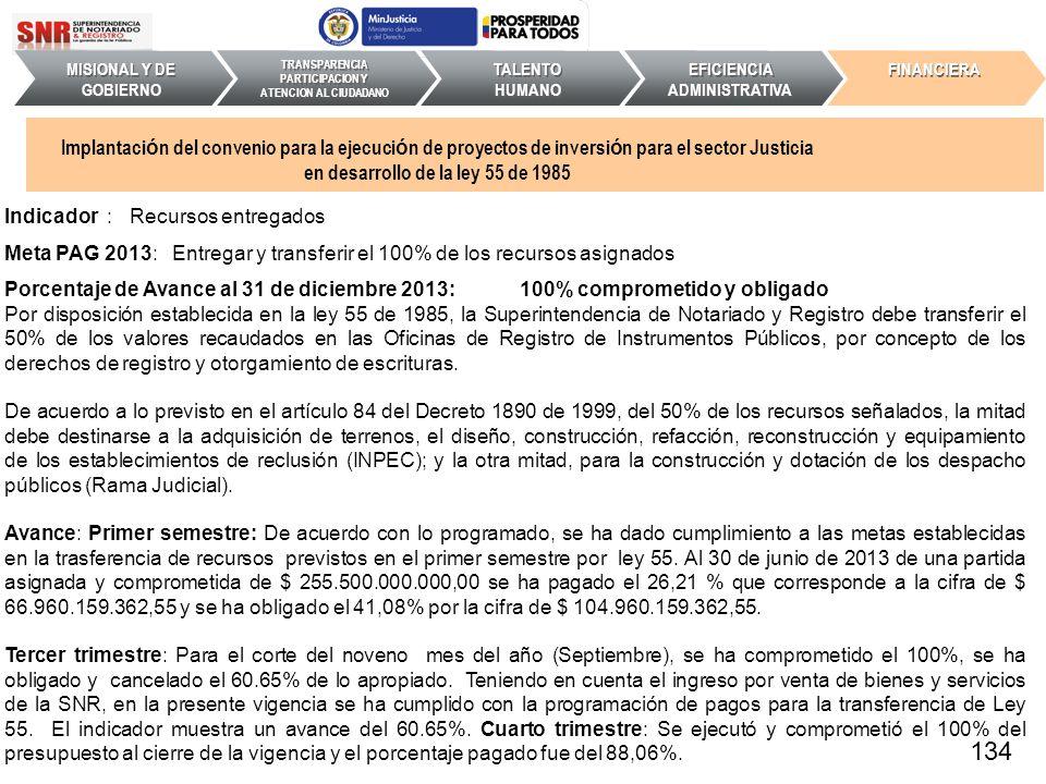 Indicador : Recursos entregados Meta PAG 2013: Entregar y transferir el 100% de los recursos asignados Porcentaje de Avance al 31 de diciembre 2013: 1