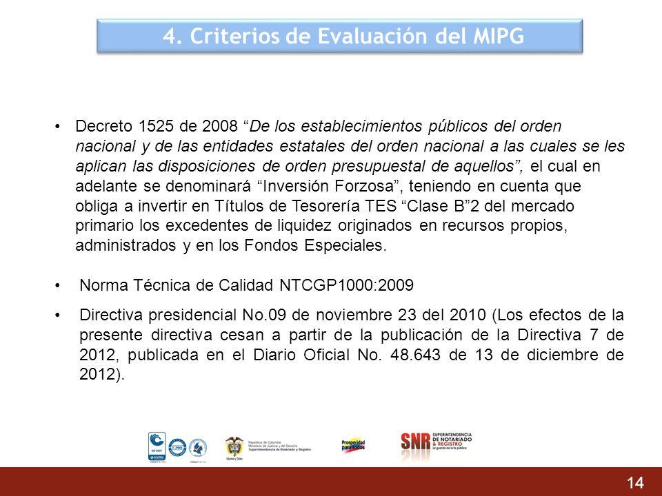 4. Criterios de Evaluación del MIPG 14 Decreto 1525 de 2008 De los establecimientos públicos del orden nacional y de las entidades estatales del orden