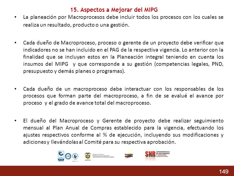 149 La planeación por Macroprocesos debe incluir todos los procesos con los cuales se realiza un resultado, producto o una gestión. Cada dueño de Macr
