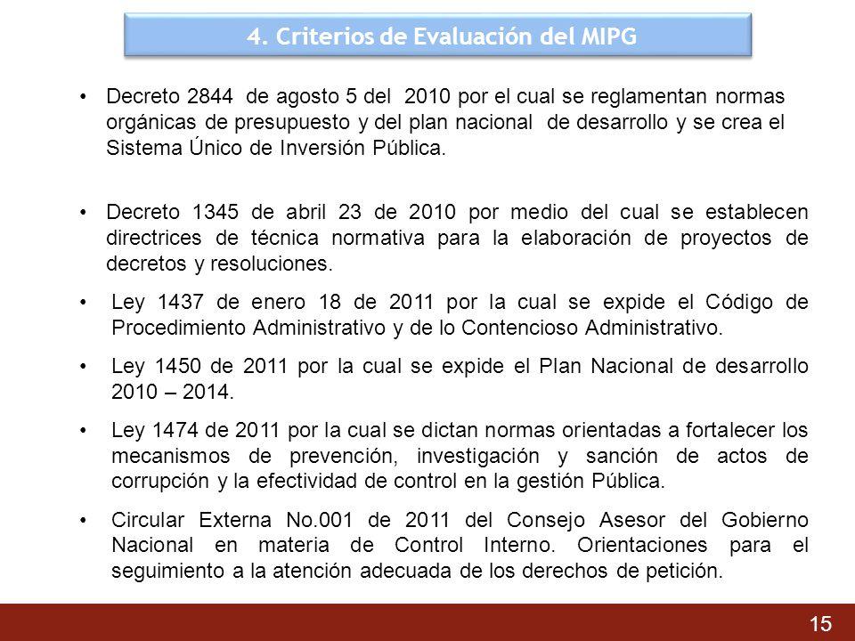 4. Criterios de Evaluación del MIPG 15 Decreto 2844 de agosto 5 del 2010 por el cual se reglamentan normas orgánicas de presupuesto y del plan naciona