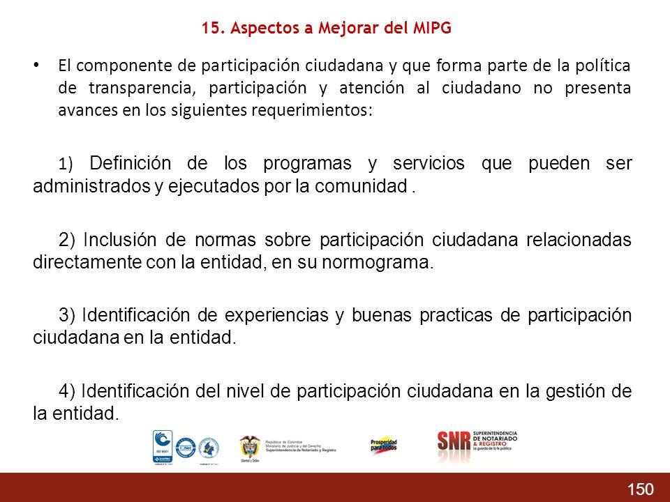 150 El componente de participación ciudadana y que forma parte de la política de transparencia, participación y atención al ciudadano no presenta avan