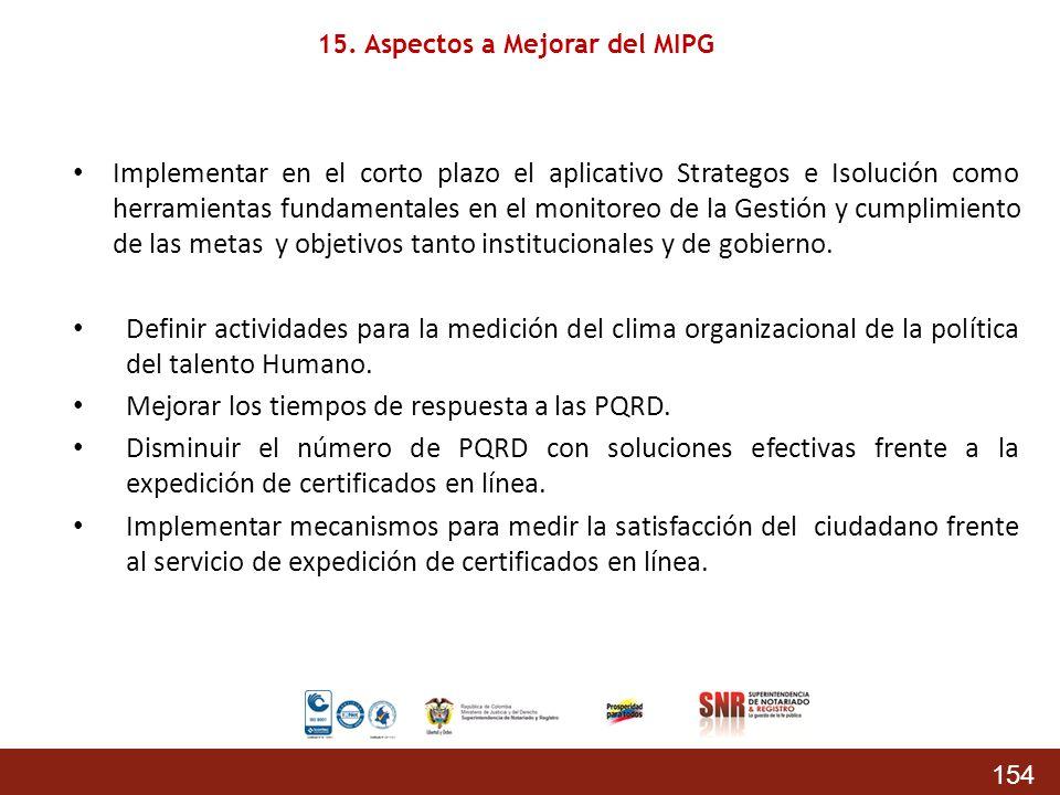 154 Implementar en el corto plazo el aplicativo Strategos e Isolución como herramientas fundamentales en el monitoreo de la Gestión y cumplimiento de