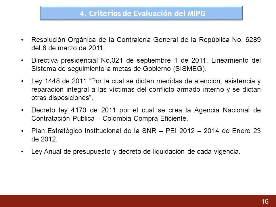 4. Criterios de Evaluación del MIPG 16 Resolución Orgánica de la Contraloría General de la República No. 6289 del 8 de marzo de 2011. Directiva presid
