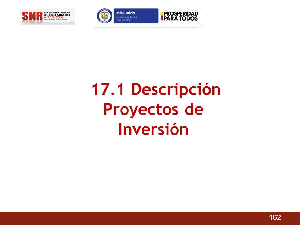 17.1 Descripción Proyectos de Inversión 162