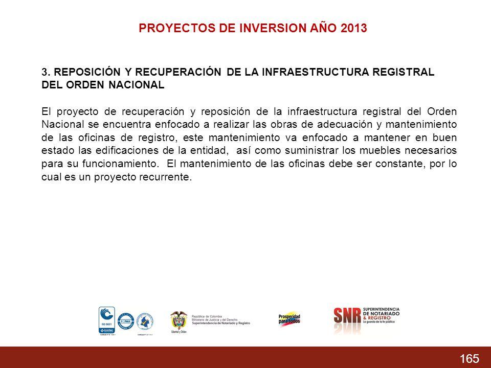 165 PROYECTOS DE INVERSION AÑO 2013 3. REPOSICIÓN Y RECUPERACIÓN DE LA INFRAESTRUCTURA REGISTRAL DEL ORDEN NACIONAL El proyecto de recuperación y repo