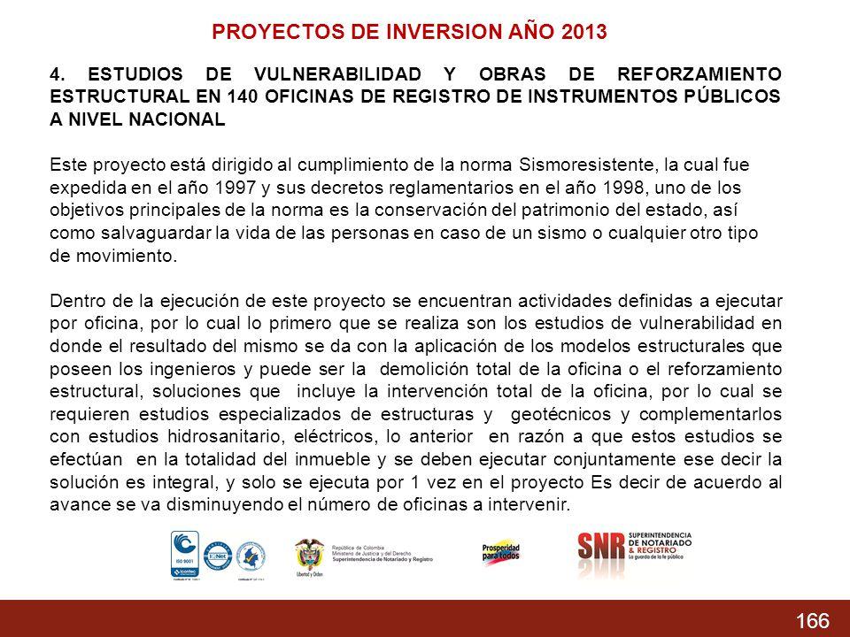 166 PROYECTOS DE INVERSION AÑO 2013 4. ESTUDIOS DE VULNERABILIDAD Y OBRAS DE REFORZAMIENTO ESTRUCTURAL EN 140 OFICINAS DE REGISTRO DE INSTRUMENTOS PÚB