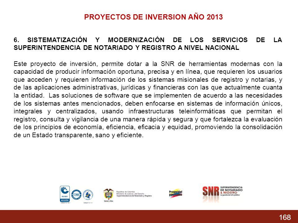 168 PROYECTOS DE INVERSION AÑO 2013 6. SISTEMATIZACIÓN Y MODERNIZACIÓN DE LOS SERVICIOS DE LA SUPERINTENDENCIA DE NOTARIADO Y REGISTRO A NIVEL NACIONA