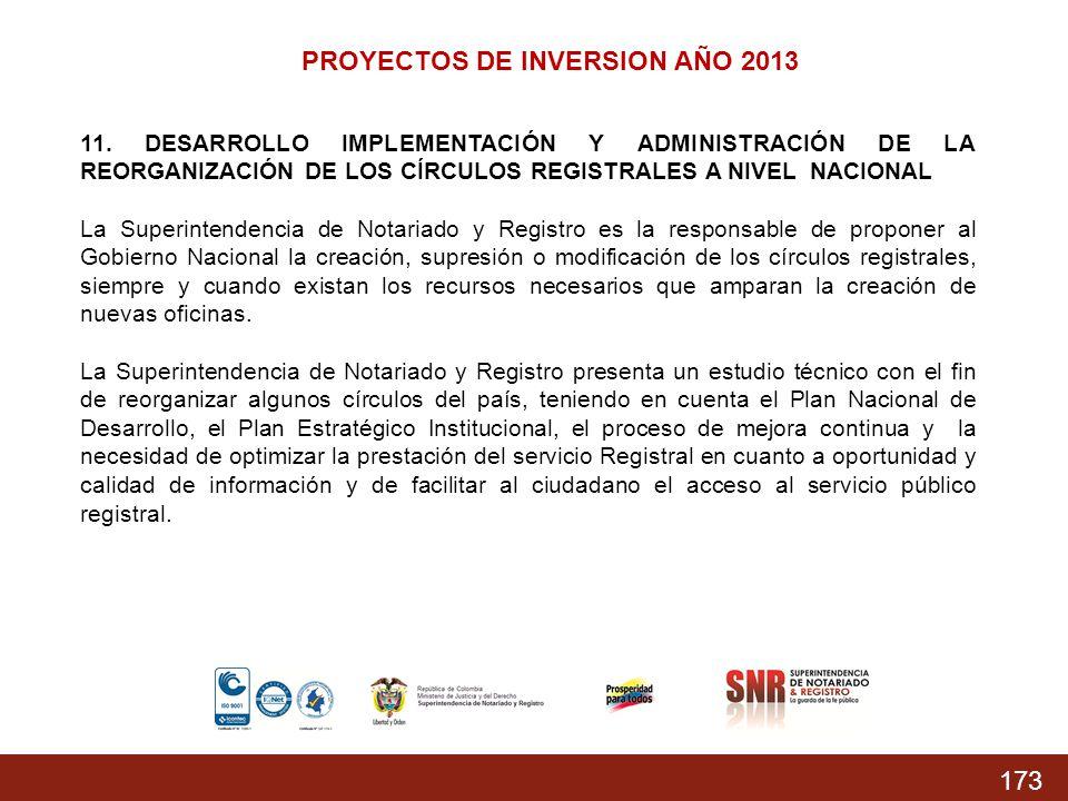 173 PROYECTOS DE INVERSION AÑO 2013 11. DESARROLLO IMPLEMENTACIÓN Y ADMINISTRACIÓN DE LA REORGANIZACIÓN DE LOS CÍRCULOS REGISTRALES A NIVEL NACIONAL L