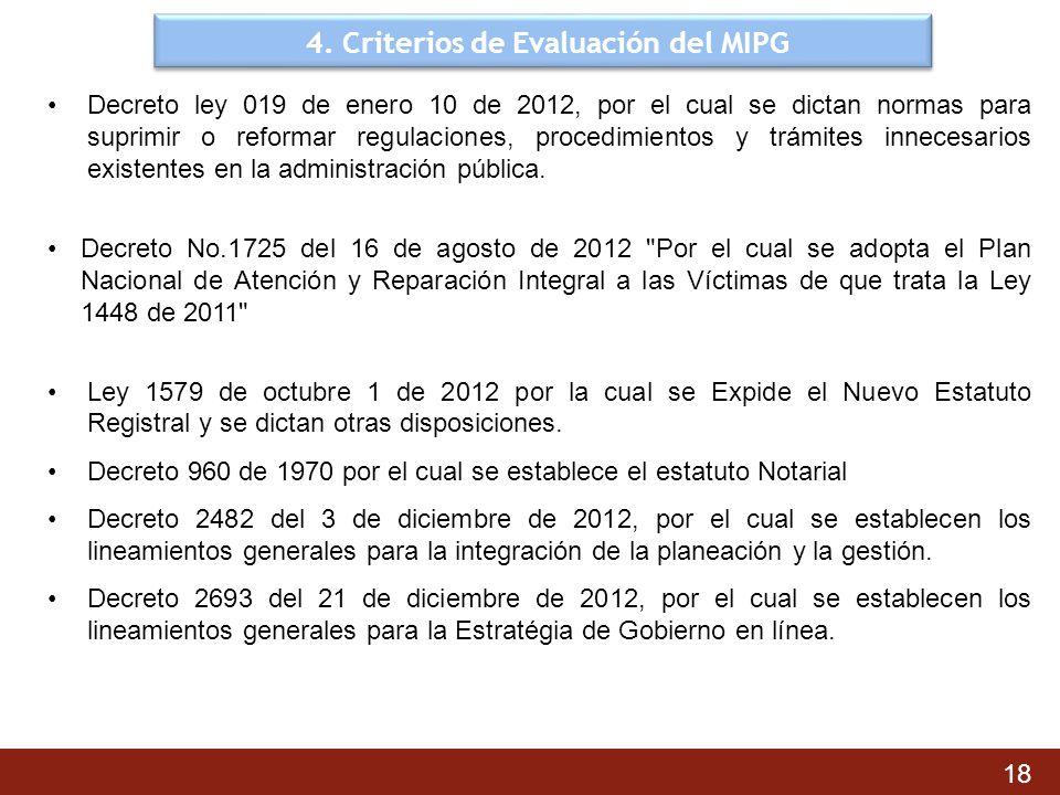 4. Criterios de Evaluación del MIPG Decreto ley 019 de enero 10 de 2012, por el cual se dictan normas para suprimir o reformar regulaciones, procedimi
