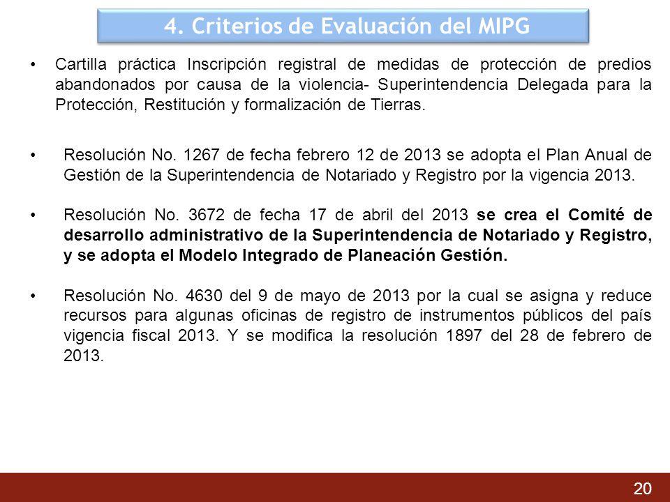 4. Criterios de Evaluación del MIPG Cartilla práctica Inscripción registral de medidas de protección de predios abandonados por causa de la violencia-