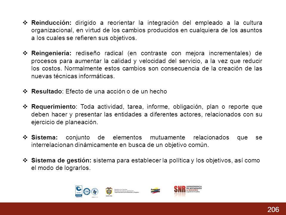 206 % Acumulado prog.: 74,37% % Acumulado Ejecutado: 68,04 % Reinducción: dirigido a reorientar la integración del empleado a la cultura organizaciona