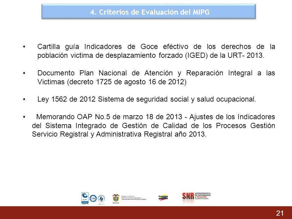 4. Criterios de Evaluación del MIPG 21 Cartilla guía Indicadores de Goce eféctivo de los derechos de la población victima de desplazamiento forzado (I
