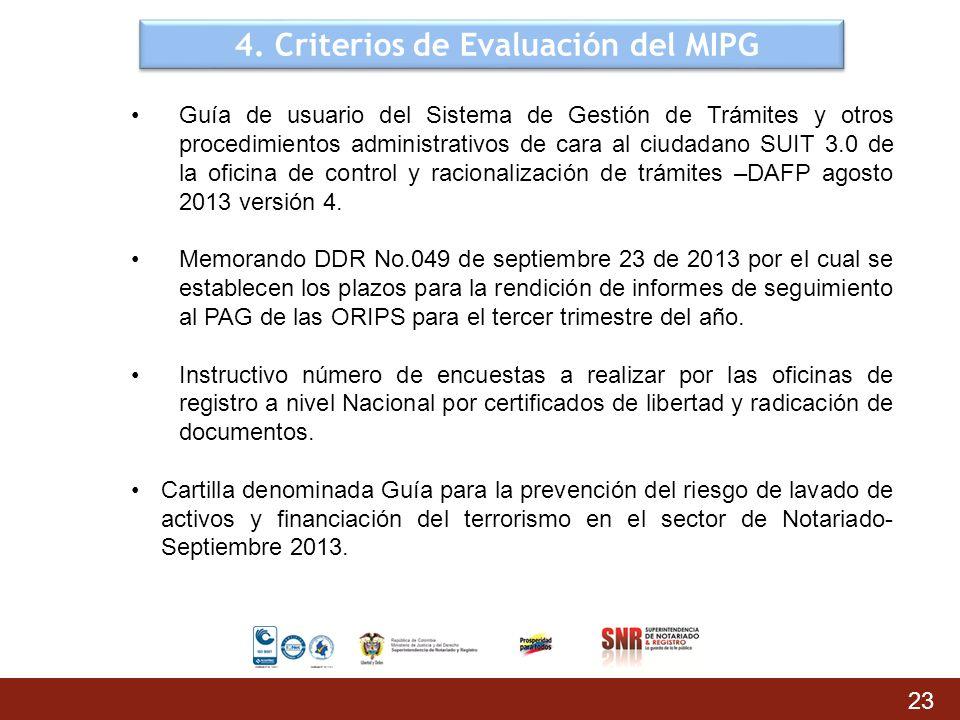 4. Criterios de Evaluación del MIPG 23 Guía de usuario del Sistema de Gestión de Trámites y otros procedimientos administrativos de cara al ciudadano