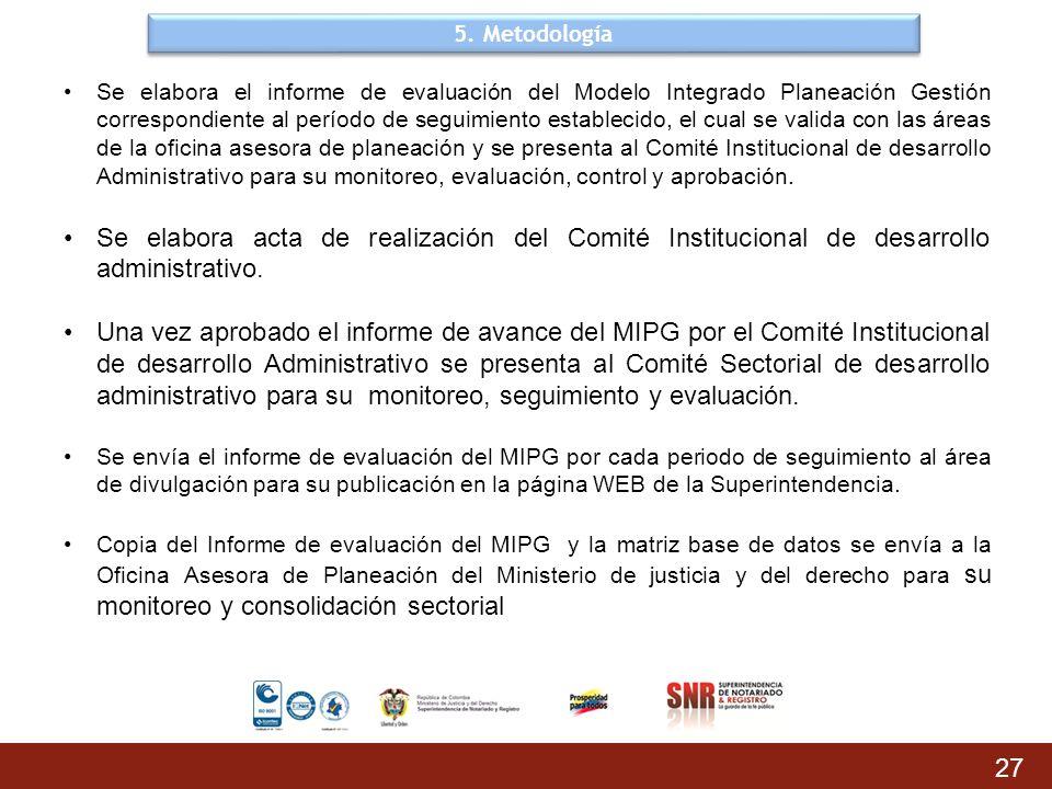 5. Metodología 27 Se elabora el informe de evaluación del Modelo Integrado Planeación Gestión correspondiente al período de seguimiento establecido, e
