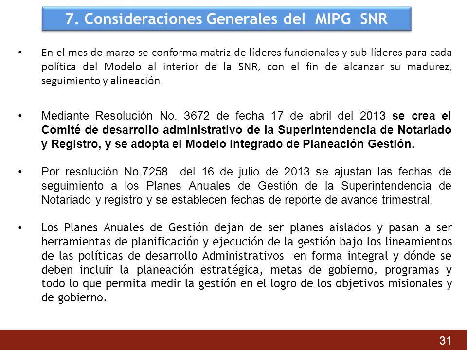 7. Consideraciones Generales del MIPG SNR En el mes de marzo se conforma matriz de líderes funcionales y sub-líderes para cada política del Modelo al