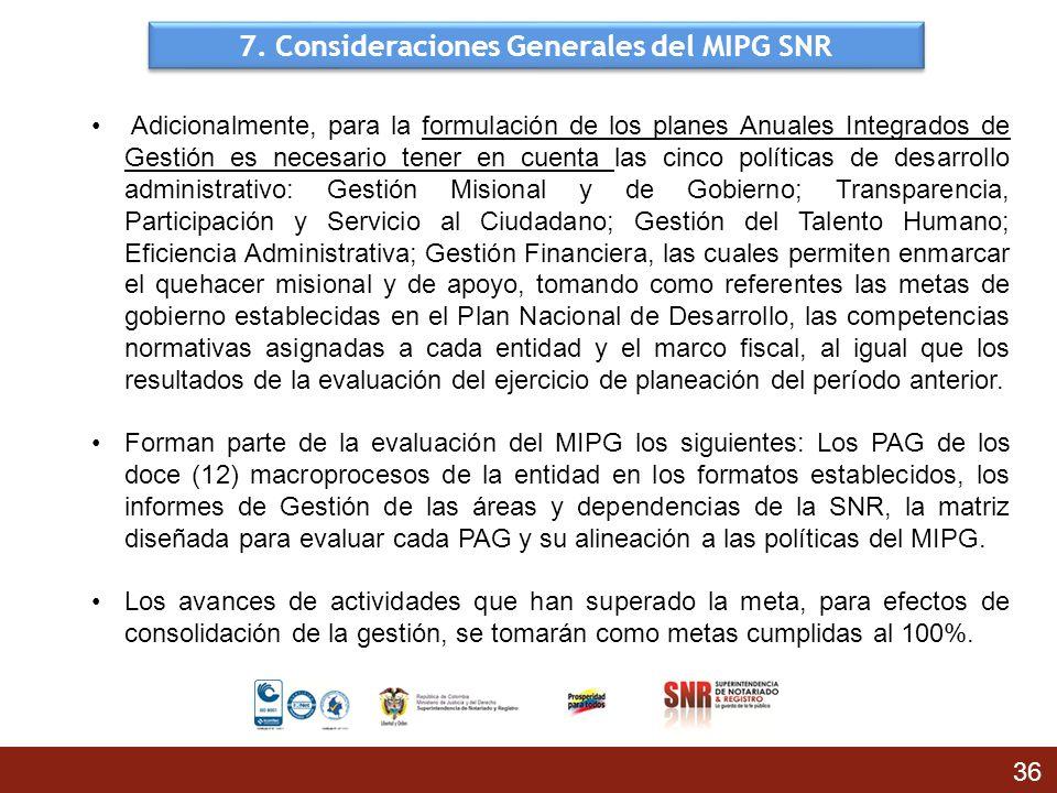 7. Consideraciones Generales del MIPG SNR 36 Adicionalmente, para la formulación de los planes Anuales Integrados de Gestión es necesario tener en cue
