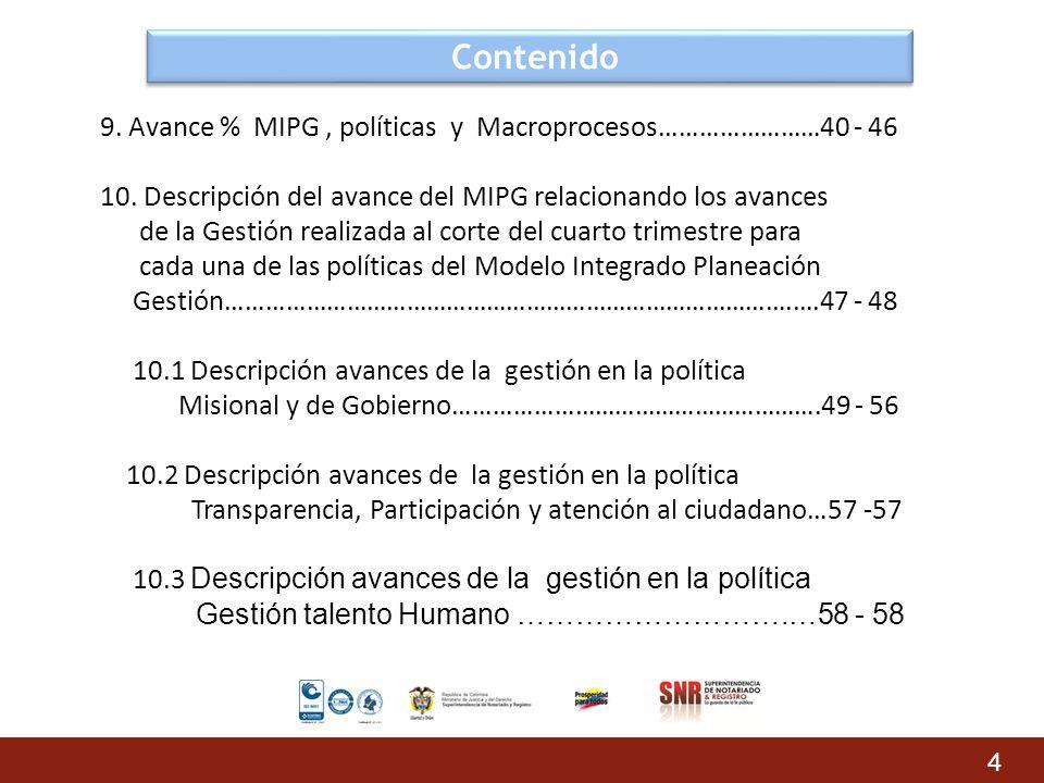 Contenido 9. Avance % MIPG, políticas y Macroprocesos……………………40 - 46 10. Descripción del avance del MIPG relacionando los avances de la Gestión realiz