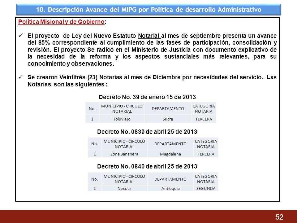 10. Descripción Avance del MIPG por Política de desarrollo Administrativo 52 Política Misional y de Gobierno: El proyecto de Ley del Nuevo Estatuto No
