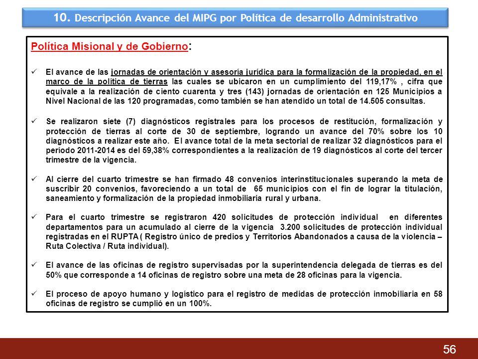 10. Descripción Avance del MIPG por Política de desarrollo Administrativo 56 Política Misional y de Gobierno : El avance de las jornadas de orientació