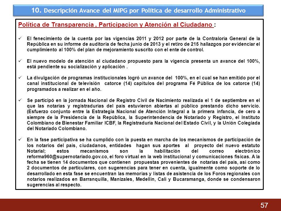 10. Descripción Avance del MIPG por Política de desarrollo Administrativo 57 Política de Transparencia, Participacion y Atención al Ciudadano : El fen