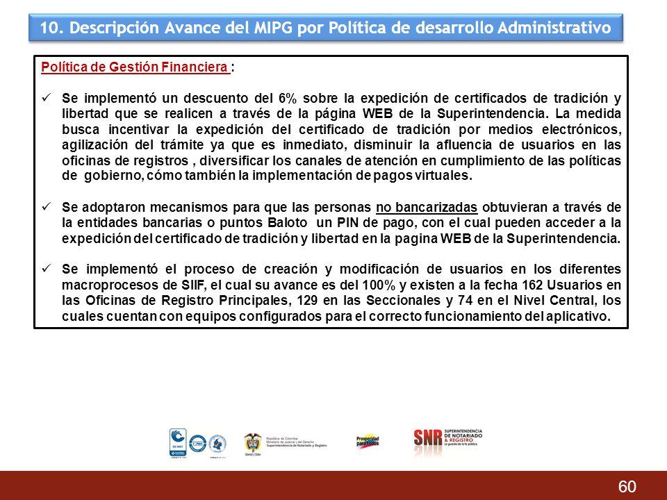 10. Descripción Avance del MIPG por Política de desarrollo Administrativo 60 Política de Gestión Financiera : Se implementó un descuento del 6% sobre