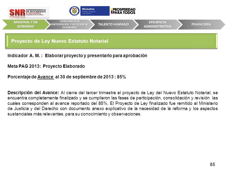 Indicador A. M. : Elaborar proyecto y presentarlo para aprobación Meta PAG 2013: Proyecto Elaborado Porcentaje de Avance al 30 de septiembre de 2013 :