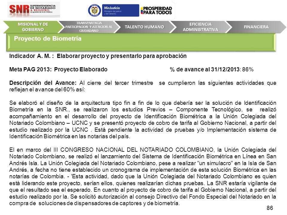 Indicador A. M. : Elaborar proyecto y presentarlo para aprobación Meta PAG 2013: Proyecto Elaborado % de avance al 31/12/2013: 86% Descripción del Ava