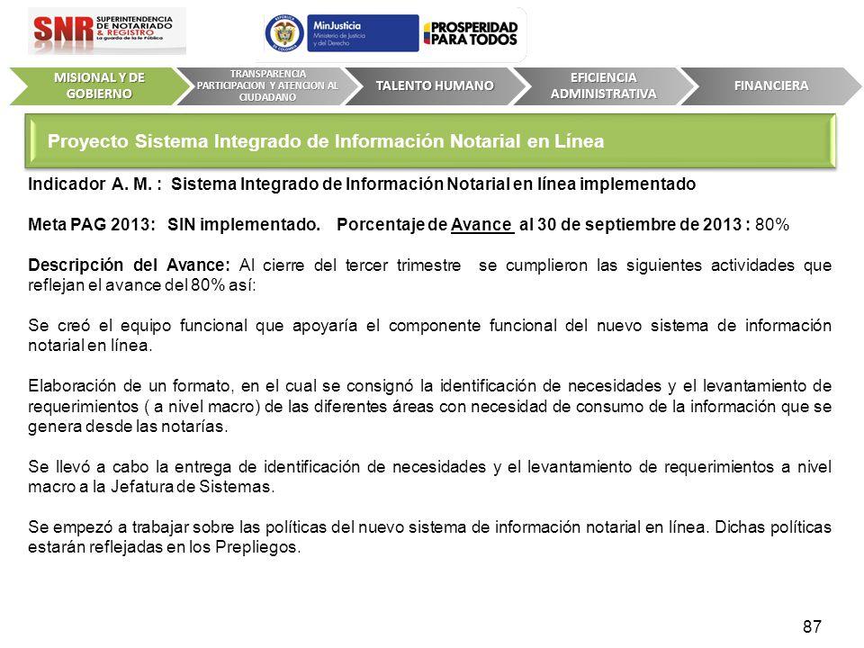 Indicador A. M. : Sistema Integrado de Información Notarial en línea implementado Meta PAG 2013: SIN implementado. Porcentaje de Avance al 30 de septi